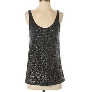 ANN TAYLOR LOFT black knit sequin top